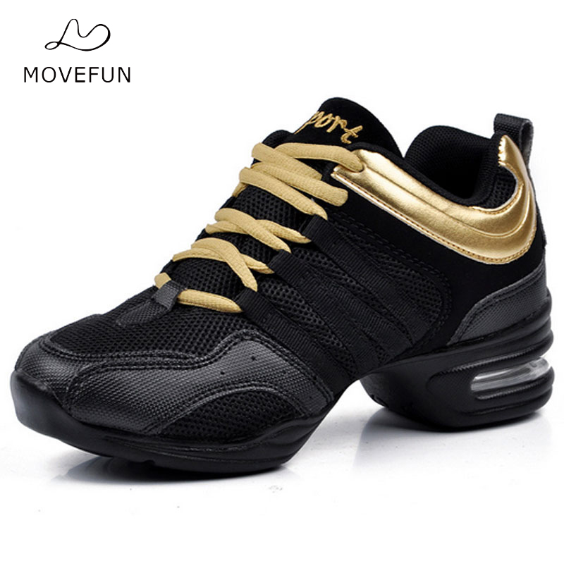 MoveFun New Jazz Dance Shoes Women Ladies Fitness Soft Outsole Breath Teachers Latin Salsa Modern Dance Sneakers Zapatos Baile
