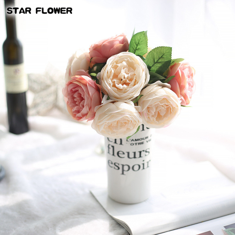 STAR FLOWER 5 head silk rose multilayer artificial flower wedding hand flower bouquet home office garden decoration 02020