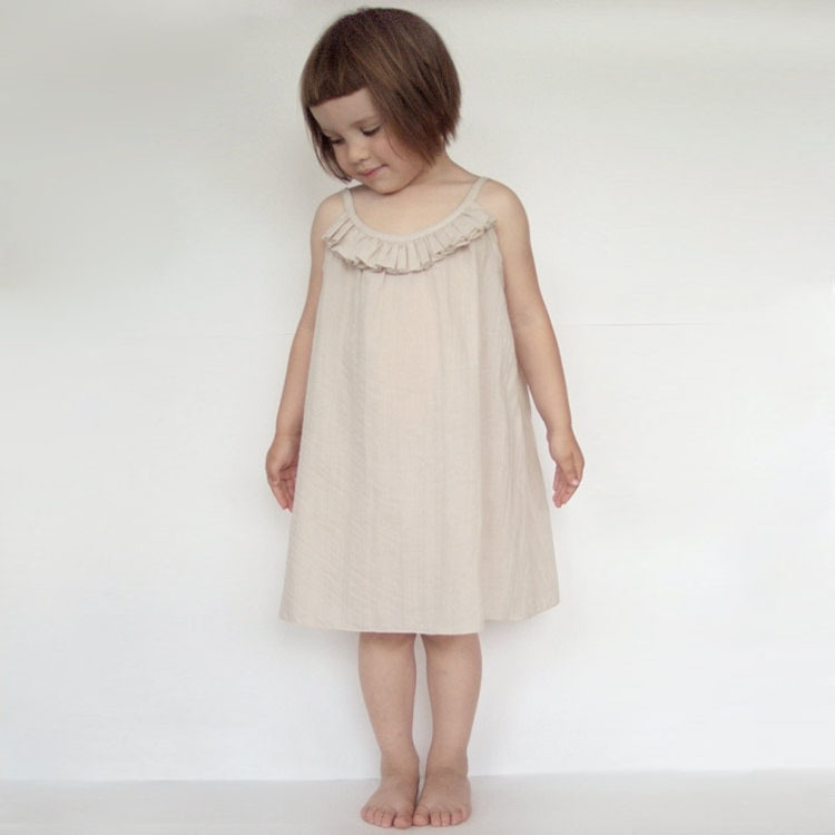 2015 new summer child dress good quality beautiful girls dress child clothing for kids beige/black simply suspender size 90-150