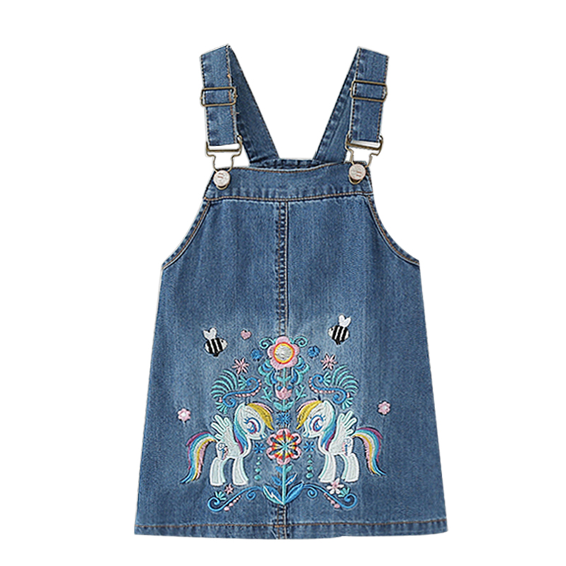Girls Dress Summer Autumn Embroidery Unicorn Children's Dresses For Girls Good Quality Denim Dress For Girl Kid Vest Dress 2-7 Y