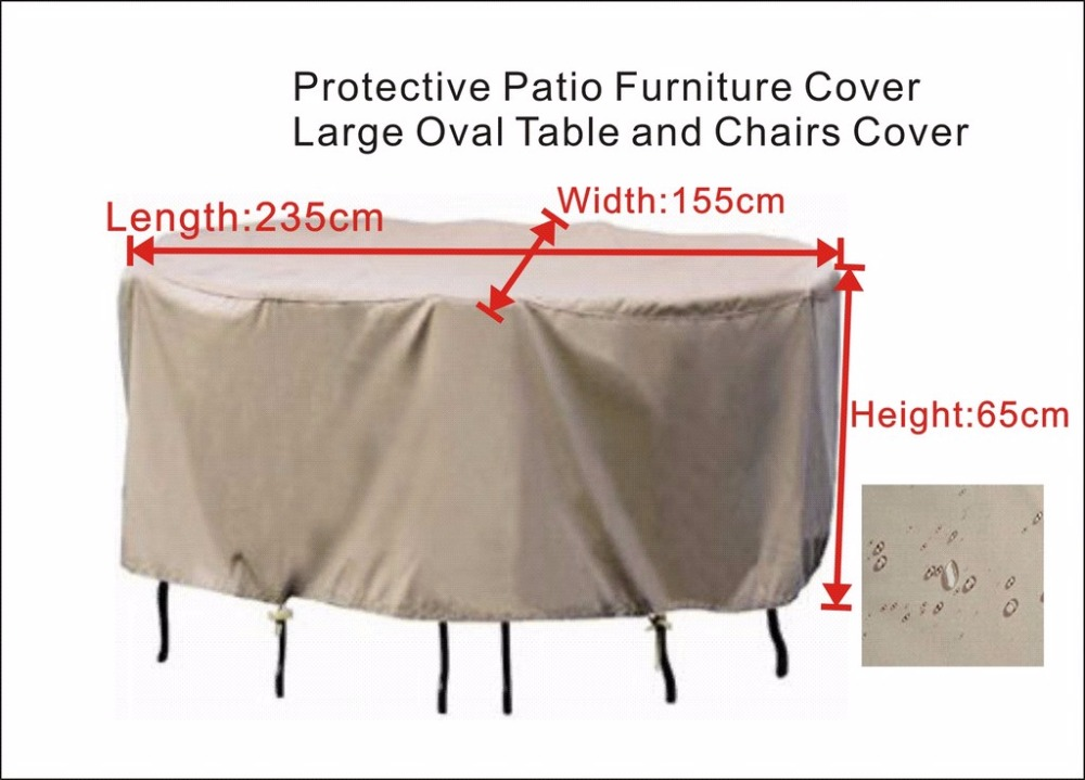 Protective cover for Patio furniture cover,water proof 235x155x65 cm,Large Oval table and chairs cover.Beige sand/ Black cover