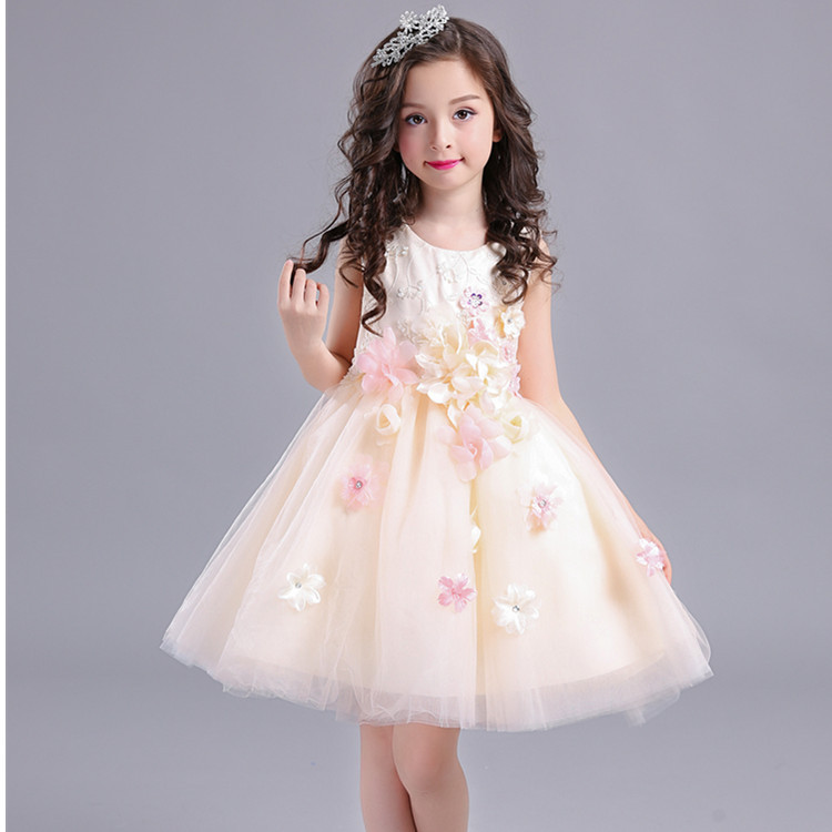 good quality high grade 2017 new summer Girls Kid 3D flower lace dress comfortable cute baby Clothes Children Clothing