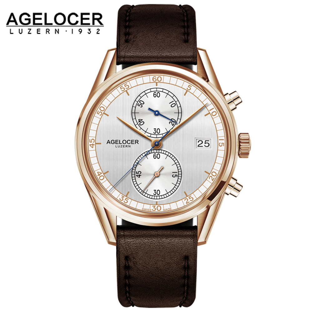 AGELOCER men famous brand chronograph portuguese electronic watch men Analog With Stainless Steel Band erkek kol saati