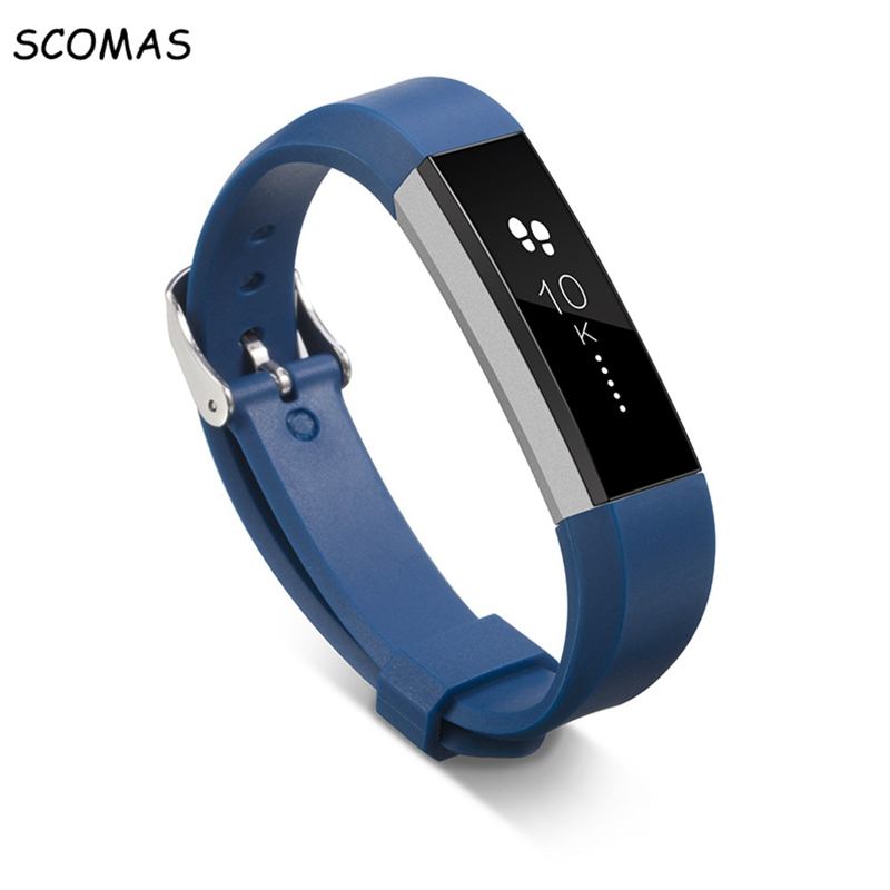 SCOMAS Silicone Fitbit Alta Watch Bands smart Wristband Bracelet Replacement Accessories with Secure Adjustable clip Strap ring