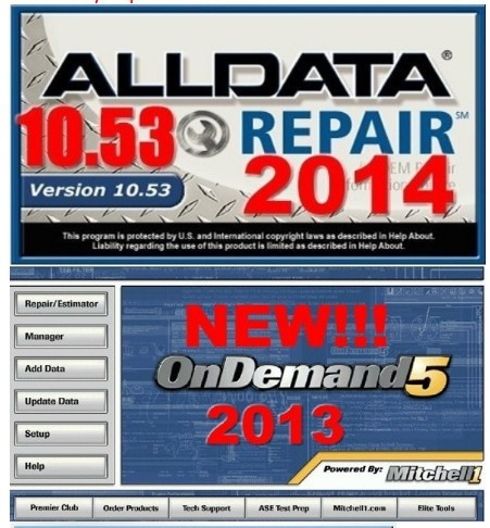 New Arrival!!!2015 Alldata v10.53 + 2013 mitchell on demand in 750G HDD work for any computer
