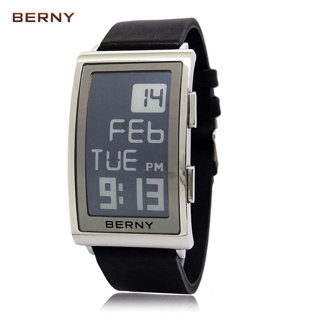2017 New Arrival BERNY Role Luxury Watch Men Electronic Ink reloj hombre Numerals e ink Watch Mens Retro Digital e ink