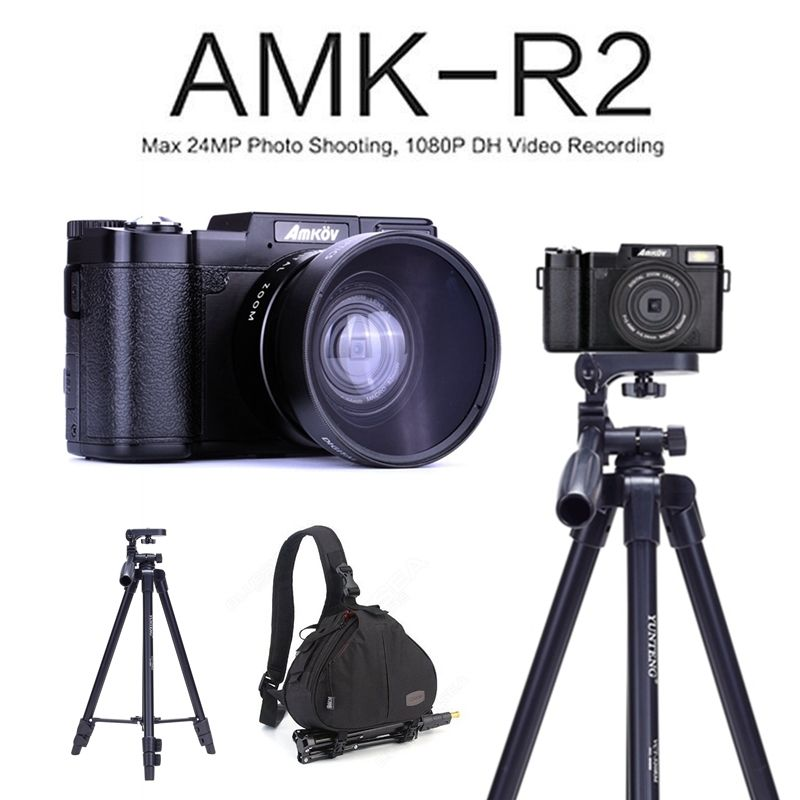 "AMKOV AMK-R2 24MP 1080P HD DSLR Digital Camera video recording DVR with 3"" Rotatable Screen +Wide-angle Lens+Tripod+Bagpack"