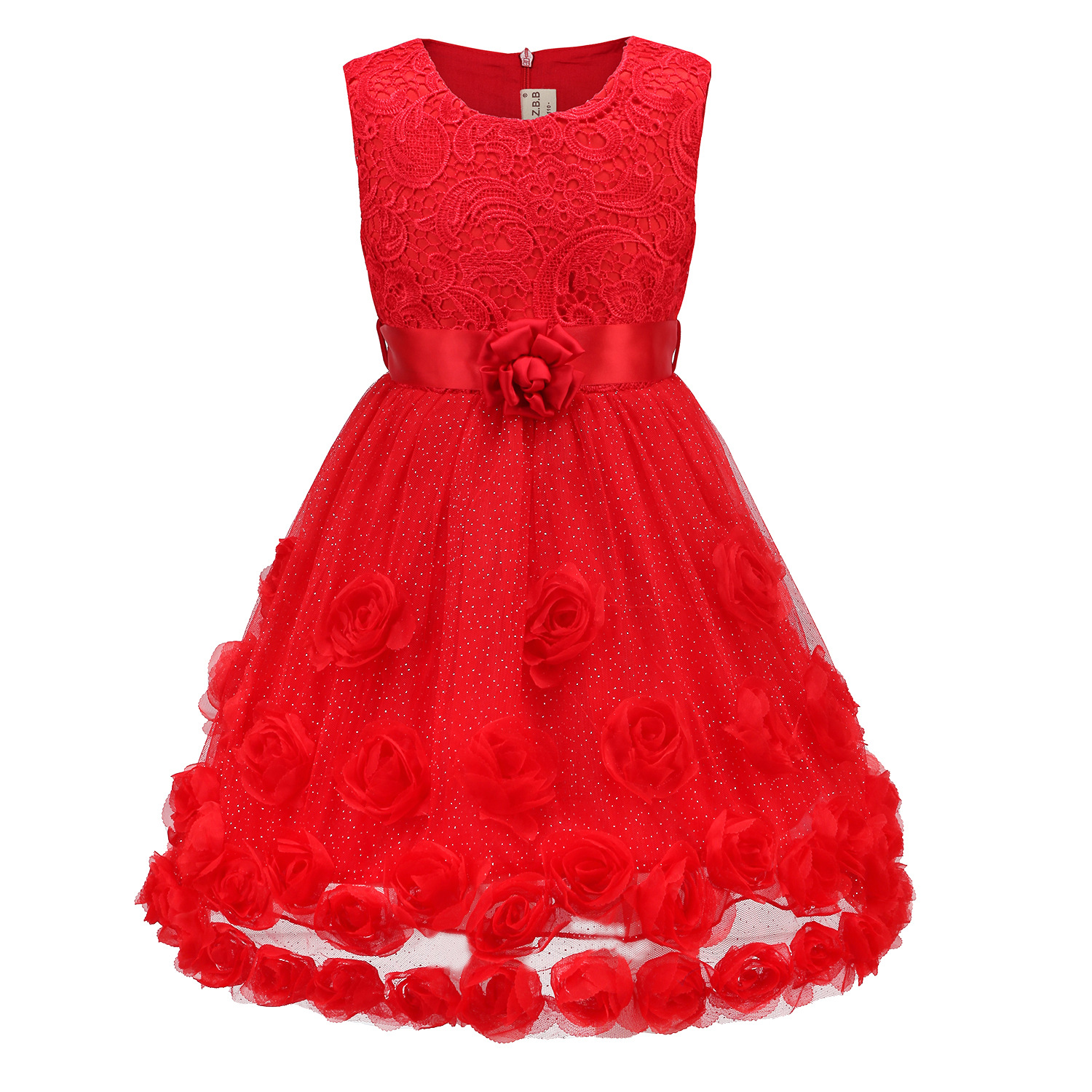 good quality high grade 2017 new summer boys Girls Kid Red lace 3D flower princess dress baby Clothes Children Clothing 25W