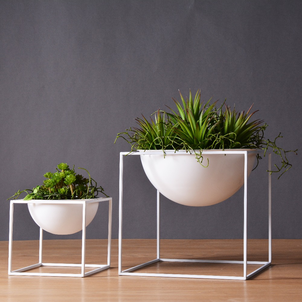 White/Black Modern Tabletop Vase Metal Square Flower Plant Pot Tray Cube Pergola Garden Planting Flower Home Decoration