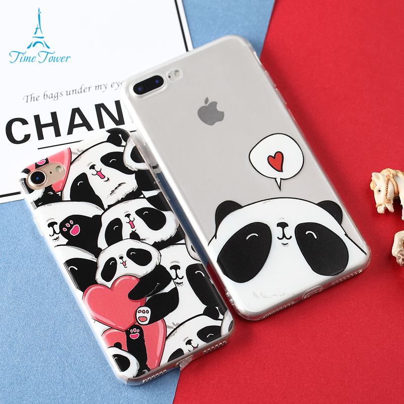 Time Tower China Cute Panda Coque For Apple IPhone 6S Case Silicone Soft TPU Animation Phone Case For IPhone 6S Plus Cover