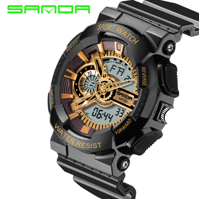 2017 Top Fashion Watches Male Sanda Fashion Watch Men Style Waterproof Sports Military S Shock Luxury Analog Led Quartz Digital