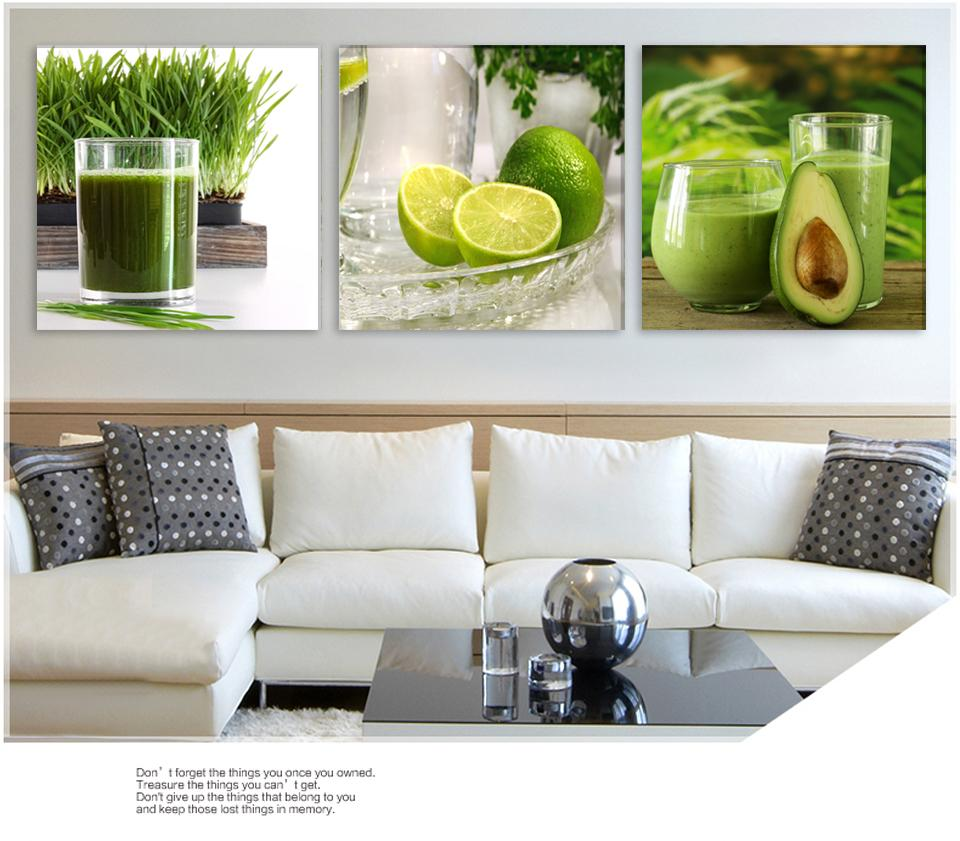 Triptych Green Lemon Fruit Modern Wall Painting Canvas Printed Lemon Picture For The Kitchen Home Decoration Painting Cheap