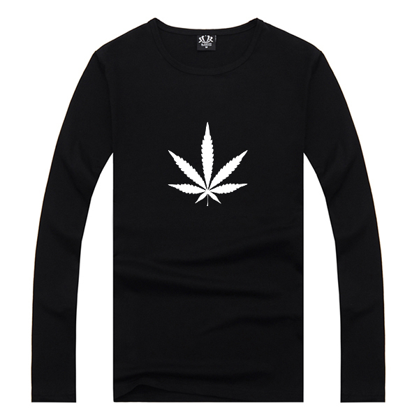 Mens Black Weed Emoji Logo Print Long Sleeve T-shirt Swag Cool Awesome Man Printed Tshirt Boys Clothing S - 2XL Spring Wear
