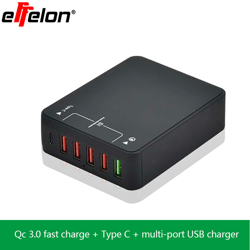 Effelon Quick Charge QC 3.0 5-Port USB Charger+Type C Ports USB Wall Fast Charger Power Adapter for Samsung/Xiaomi/iPhone more