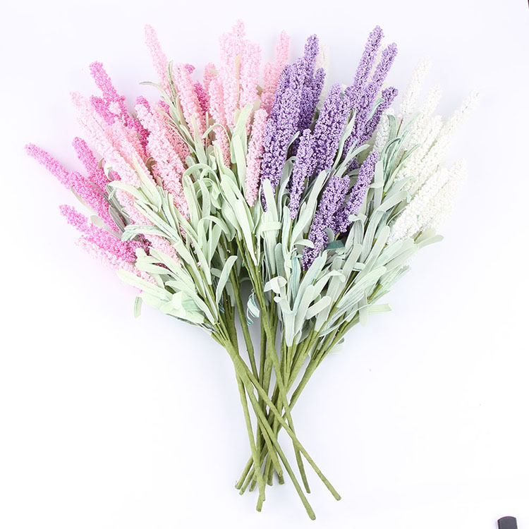 12 Heads Artificial Lavender Flower With Leaves Bouquet Home Wedding Garden Decor