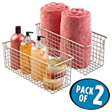 mDesign Wire Storage Basket for Bath Towels, Shampoo, Health and Beauty Supplies - Pack of 2, Satin [並行輸入品]