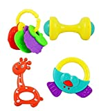 High Quality Non Toxic Baby Toys Rattle Set of 4 Pieces for Infants and Toddlers - Multi color