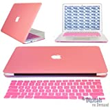 "Moca(Tm) Macbook Pro 13-Inch With Retina Display Case Cover {Pink} Rubberized With Apple Logo Cut-Out Shell Hard Case Cover For Macbook Pro 13"" 13.3"" 13-Inch With Retina Display Shell Cover Case + Get Silicone Keyboard Guard Free"
