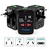 Photron TRAD75 Universal Worldwide Travel Charger Adapter Plug With Built-in Surge Protector All in One Travel Power Outlet Adapter Wall Changer Adaptor Works in 150 Countries EU UK US AU with Pouch, Black