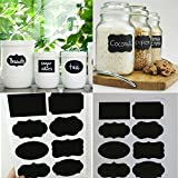 40pcs Home Kitchen Blackboard Stickers Removable Chalkboard Labels (With Pen) For Fridge, Plastic Jars