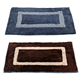"Story@Home Handicraft Style Eco Series 2 Piece Cotton Blend Door Mat Set - 16""x24"", Brown and Grey"