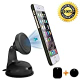 Photron PH-MH65 Universal Magnetic Car Mount, Windshield Mount and Dashboard Mount Holder for Cell Phones Smartphones and Mini Tablets with 2 Magnetic Plates & 3M Adhesive