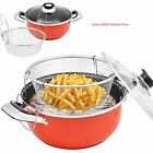 BRAND NEW HOME KITCHEN COOKWARE FRY POT PAN BASKET 2 SIZES NON STICK GLASS LID