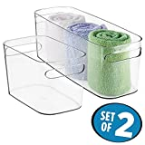 mDesign Bathroom Vanity Organizer Bins for Health and Beauty Products/Supplies, Towels, Perfume - Set of 2, Clear