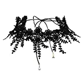 Gnzoe Women Choker Chain Adjutable, Collar Hollow Lace Flower Choker For Girls Black White with Pearl, 87.7CM