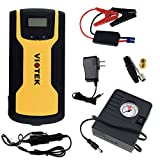 Viotek Emergency Car Battery Charger with Jumper Cables and Tire Inflator – USB Charging Port and Hard Shell