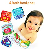 Floating Baby Bath Books (Pack of 4) by Baby Bibi. Set of: Fruit Book, Ocean Book, ABC Book, Numbers Book. Learning Bath Toys for Toddlers with Sea Creatures. Waterproof Toys for Bath Time.
