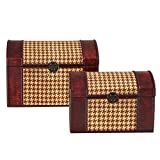 Bombay Company Houndstooth Woven Trunks Pair - Brown & Beige