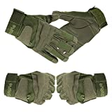 Happy Hours - Men's and Women's Military Outdoor Sports Full-finger Fingerless Gloves for Athletic Hunting Riding Cycling Biking Fishing Gym(Army Green,L)