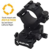 "Windage Elevation Adjustable Picatinny Weaver Rail Mount and Barrel clamp Adaptor hold with 1"" inch 30mm Ring for Weapon Rifle Gun Tactical Laser LED Flashlight Light Illuminator Scope Optic Torch"