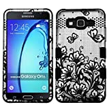 MyBat Cell Phone Case for Samsung On 5 - Black Lace Flowers (2D Silver)/Black