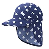 HAPPY CHERRY Kids Outdoor All Sport Sun Hats, UPF 50+ Sun Protection Flap Hats - Blue Star