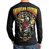 Hot Rod American Custom Mens Black T-Shirt Long Sleeve (Large)