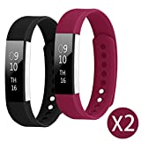 Bands for Fitbit Alta / Fitbit Alta HR , Hanlesi TPU Soft Silicone Adjustable Replacement Sport Strap Band for Fitbit Alta 2 Smartwatch Heart Rate Fitness Wristband Large Size for Woman Black and Fuchsia
