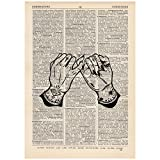 Tattoo Pinky Promise Dictionary Word Art Print OOAK, Quirky, Alternative Vintage