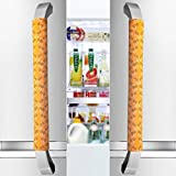 "Vezfinel Refrigerator Door Handle Covers,Fridge Oven Dishwasher Protectoer,Catch Fingerprints&Smudges Kitchen Appliances Handmade New (16""4"", Orange daisy)"