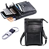 Genuine Leather Iphone 6s 6 plus Case Holster With Belt Clip , Vertical Smartphone Belt Pouch,Note 5 Lg G4 Belt Holster,Waist phone bag,Men Purse,Cell phone Shoulder Bag+ Hwin Keychain