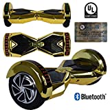 "8"" inch Wheels Electric Smart Self Balancing Scooter Hoverboard With Bluetooth Speaker LED Light - UL2272 Certified (Gold)"