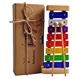 Glockenspiel (Xylophone for Kids),Made of Wood with Music Cards,Tuned Quality Music Instruments for Toddlers, Fun and Educational Percussion for All Ages.100% Money Back Guarantee