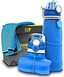 Sports Water Bottle + Cooling Towel , ELV 750ml Silicone Collapsible And Foldable Gym Sports Outdoor Water Bottle Non-Toxic BPA Free (Blue / Blue)