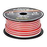 Grand General 55304 Red/White 100' Parallel Primary 2-Wire Roll with Spool for Trucks, Automobile and More
