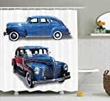 Old Car Decorations Shower Curtain Set By Ambesonne, Picture Of Old Antique Cars Historic Automobile Nostalgic Vintage Style Decor, Bathroom Accessories, 69W X 70L Inches, Blue Red