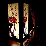 Red Sakura Cherry Blossom Handmade Asian Oriental Wood Table Lamp Paper Gift Bedside Night Light Bulbs Bedroom Accessories Home Decor Living Room Bedside Art Garden Outdoor Floor Japanese Modern Vintage Christmas; Canada Plug Only #320