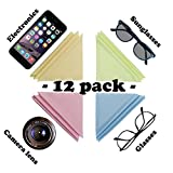 Microfiber Cleaning Cloths, 12 Colorful Cloths ECO-Friendly Cloths, Ideal for Cleaning Glasses, Camera Lenses, iPad, Tablets, Phones, iPhone, Android Phones, LCD Screens and Other Scratch Sensitive Surfaces