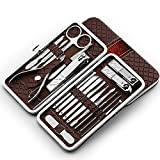 Nail Clippers Set 18pcs in 1 Stainless Steel Manicure Set Beauty Personal care Foot Pedicure Tools Kit (Brown)