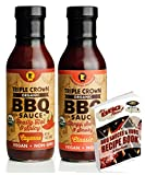 Cayenne & Classic BBQ Sauce 2 Pack 14oz ea Barbeque fr Triple Crown BBQ Sauce USDA Organic Non GMO Gluten Free Vegan | Best for Chicken Sandwich Pork Ribs | See Pckge fr Free BBQ Bk (Cynne&Clssc, 2pk)
